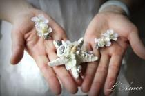 wedding photo - Handmade Starfish hair clip set for Beach Wedding,Rhinestone and Pearl Starfish Hair Clip