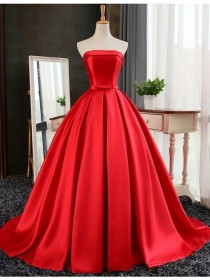 wedding photo -  Buy Ball Gown Strapless Floor Length Red Prom Dress with Pleats Red, from for $246.99 only in Main Website.