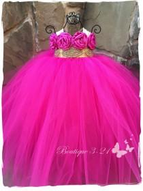 wedding photo - Fuchsia Gold tutu dress, Fuchsia Flower Girl Dress, Gold Flower Girl Dress, Fuchsia tutu dress, Gold tutu dress