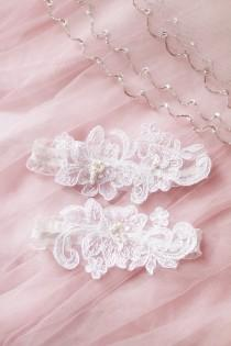 wedding photo - Wedding Garter Set Bridal Garter Belt - Keepsake Garter Toss Garter Included - Ivory Beaded Flower Lace Garter Garters - Vintage Inspired