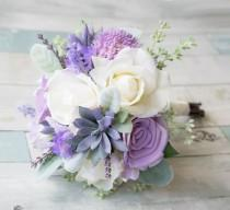 wedding photo - Lush Lilac Wedding Succulent, Roses and Sprays Silk Flower Bride Fall Rustic Bouquet