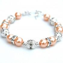 wedding photo - Peach Pearl Bracelet, Pale Peach Wedding, Autumn Wedding, Bridesmaid Gifts, Bridesmaid Jewelry, Pastel Jewelry, Peach Bridesmaids