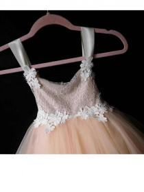 wedding photo - Adorable flowergirl dress with chantilly lace, satin strap, flower lace and peach tulle skirt