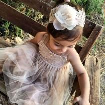 wedding photo - Sparkle Magic Dusty Rose flower girl dress French lace and silk tulle dress for baby girl princess dress tutu