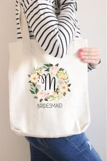 wedding photo - Bridesmaid Tote, Bridal Party Tote Bag, Bridesmaid Proposal, Canvas Tote, Flower Girl, Personalized Tote Bag, Custom Tote, Beach Tote