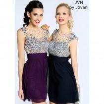 b2ddb350c34 JVN by Jovani JVN99490 Illusion Chiffon Dress - 2017 Spring Trends Dresses