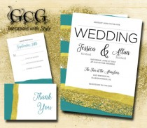 wedding photo - Printable Watercolor Wedding Invitation suite, watercolor wedding. Watercolour wedding invitation suite, Teal and Gold Brush strokes