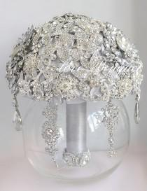 wedding photo - Silver Brooch Bouquet Gray Wedding Bouquet Bridal Bouquet Jewelry Bouquet Crystal Bouquet Custom Bouquet Rhinestone Bouquet Art Deco Bouquet