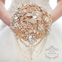 wedding photo - Bridal Bouquet Brooch Bouquet Gold Wedding Bouquet Bridesmaids Bouquet Rose Gold Bouquet Broach Bouquet Crystal Bouquet Jewelry Bouquet