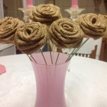 wedding photo - 30- Burlap Roses on Stems-Light Natural-DIY decorations-DIY weddingSet of 30-Rustic DIY Decorations, Wedding Decor,