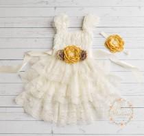 wedding photo - Ivory Rustic flower girl dress, junior bridesmaid dress, country flower girl dress,Easter dress, shabby chic country wedding, birthday dress
