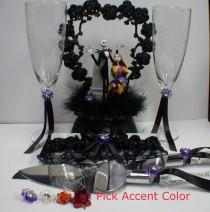 wedding photo - Nightmare before Christmas Wedding Lot Cake Topper, Glasses, Knife, Server, Garter Jack Sally Halloween