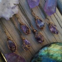 wedding photo - Raw Amethyst necklace, amethyst necklace, crystal necklace, purple stone, wire wrapped, crystal , february birthstone