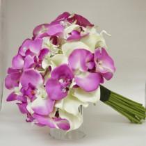 wedding photo - Tropical Bouquet - Destination Wedding Bouquet - Real Touch Bouquet - Calla Lilies,Orchids, Real Touch Calla Lilly Bouquet