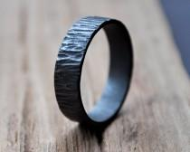 Men's Oxidized Rustic Bark Wedding Band. Sterling Silver Ring. (Oxidised, Black, Grey.) 6mm Wide Flat Band. Custom Size. Recycled. Eco.