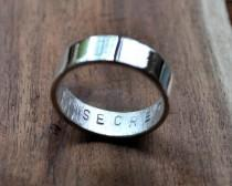 wedding photo - Men's Mirror Shine Secret Message Ring. Custom Stamped Sterling Silver Wedding Band. Personalized. Personalised. 6mm. Flat Ring. Eco.