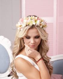 wedding photo - Bridal crown romantic headband spring racing flower crown light pink wedding floral headpiece white fascinator headband wedding flower crown
