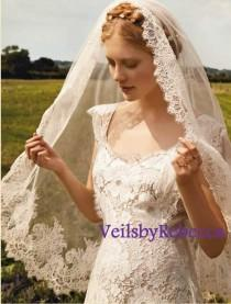 wedding photo - Ready to Ship Veil-1 tier mantilla veil,elbow length lace veil,wrist length lace veil,fingertip length lace veil,french chantailly lace veil