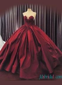 wedding photo - Sexy sweetheart neck burgundy colore ball gown wedding dress