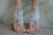 wedding photo - Ivory lace barefoot sandals Beach Wedding France lace anklet sandals lace Wedding Shoes beach shoes beach sandals Bridal sandals 6 Colors