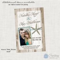 wedding photo - Save the Date Postcard, Starfish Save the Date,  Beach, Tropical, Destination Save the Date, Printable or Printed