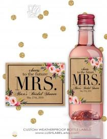 wedding photo - Bridal Shower Wine Champagne Mini Bottle Labels Unique Decor Ideas - Bridesmaid Maid of Honor Responsibilities Wedding Gifts -