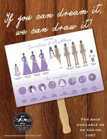 wedding photo - Silhouette Wedding Program Fan and Timeline 7 - DIGITAL OR PRINTED