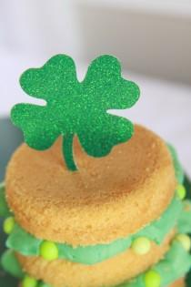 wedding photo - St Patricks Day - Shamrock Cupcake Toppers - Erin Go Braugh - Luck O the Irish - St Paddys Day Birthday - Four Leaf Clover - Lucky You