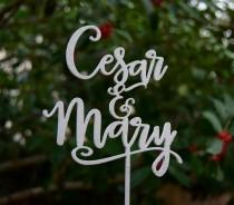 wedding photo - Personalized MR&MRS Wedding Cake Topper, Wedding Cake Decor,  Topper names - Champadne gold color - Wedding Gift, Rose gold cake