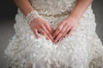 wedding photo - Bridal tatted lace bracelet in ivory