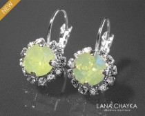wedding photo - Green Opal Halo Earrings Swarovski Chrysolite Green Opal Earrings Light Green Opal Leverback Silver Earrings Wedding Green Crystal Earrings