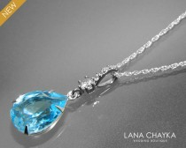 wedding photo - Aquamarine Crystal Necklace Swarovski Aquamarine Silver Pendant Aqua Blue Silver CZ Necklace Birthstone Necklace Teardrop Blue Necklace
