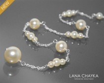 wedding photo - Ivory Pearl Backdrop Attachment Necklace Swarovski Pearl Bridal Backdrop Delicate Necklace Wedding Pearl Silver Necklace Bridal Jewelry