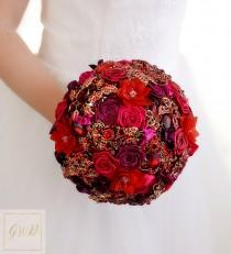 wedding photo - Wedding Crystal Jewelry Bouquet Red Wedding Bouquet Brooch Bouquet Fuchsia Bridal Bouquet Bridesmaid Bouquet Gold Wedding Red Bouquet