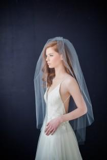 wedding photo - Double tier tulle  bridal veil with extra long blusher