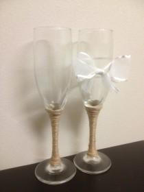 wedding photo - Wedding Champagne Toast Glasses with White Bow and Twine Wrapping// Burlap Mason Jar Themed His and Hers Champagne Toast Flutes