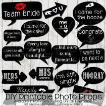 wedding photo - Wedding Photo Booth Props DIY Printable Instant Download Chalkboard Party Signs SVG PDF Die Cut