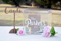 wedding photo - Wedding Card Box - Personalized Card Box - Wedding Keepsake Box - Acrylic Card Box - Wedding Card Box with Slot - Card Box for Wedding