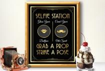 wedding photo - Photo booth, photo booth sign, selfie station sign, grab a prop and strike a pose sign, art deco photo booth, great gatsby photo booth sign