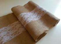 wedding photo - Burlap table runner with lace for dining table, wedding, party, or bridal shower. Rustic decor.