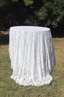 wedding photo - table cloth, wedding tablecloth, Lace table overlay, tablecloth, table overlay, lace tablecloth, ivory lace, white lace, table runner, SALE
