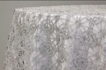 wedding photo - Sale! Silver or gold and sequence chain lace table overlay, lace tablecloth, wedding decor, table runner