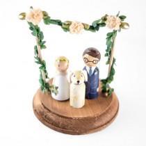 wedding photo - Spring Cake Topper - spring wedding cake topper with dog - dog cake topper - custom peg bride and groom cake topper - floral cake topper