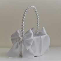 wedding photo - White Pearl Flower Girl Basket White Wedding Baskets with Pearl handle, Wedding Ceremony Basket  Flower Petals Basket