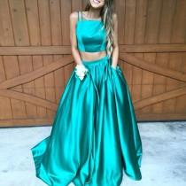 wedding photo -  Elegant A-Line Two Piece Spaghetti Straps Pocket Ruched Prom Dress