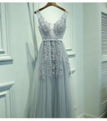 wedding photo -  Elegant A-Line V-Neck Sleeveless Gray Long Prom Dress with Lace from Dressywomen