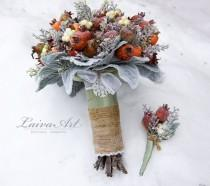 wedding photo - Winter Wedding Bouquet Rustic Winter Wedding Alternative Bridal Bouquet Berries Bouquet Woodland Wedding with Boutonniere