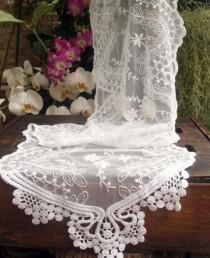 wedding photo - Vintage Style Lace Table Runner with Beads or Pearls   Simply Stunning!!!!