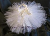 wedding photo - All White Tulle Flower Girl Basket. The Perfect Touch for any Wedding. Comes in other colors.