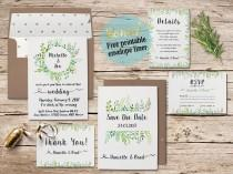 wedding photo - printable wedding invitation suite leafy greenery garden wreath green leaves invitation set watercolor floral wedding invitation suite